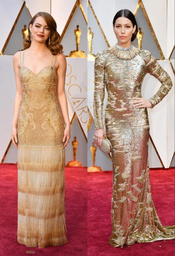 robe de soirée longue ornée de paillette Emma Stone et Jessica Biel