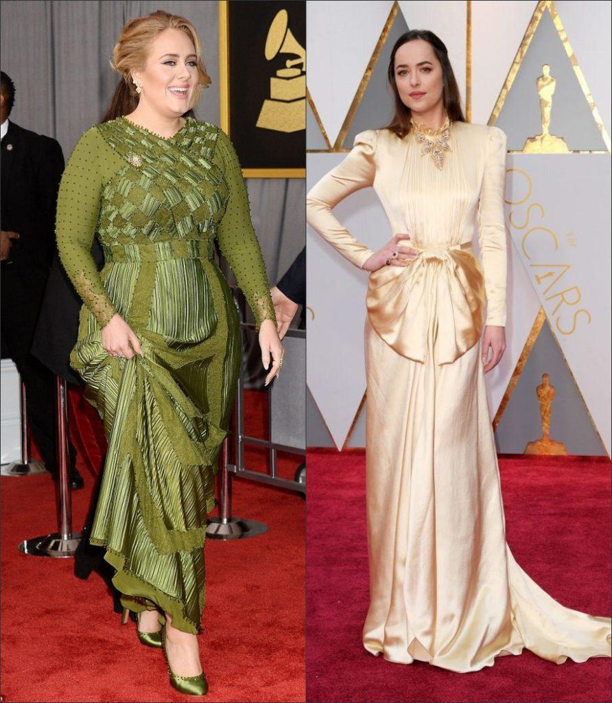 robe de soirée longue Adele et Dakota Johnson manches longue