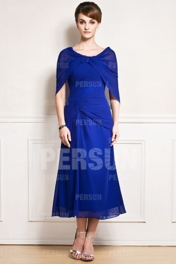 Robe chic bleue royale en cape mousseline avec paillettes