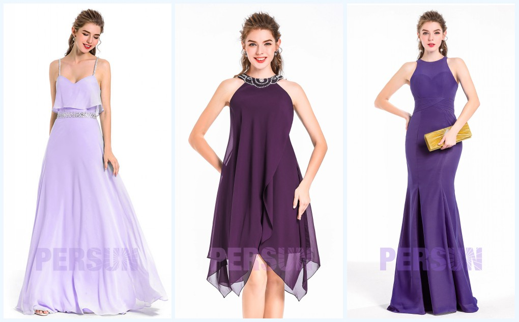 3 styles de robe de soirée violette
