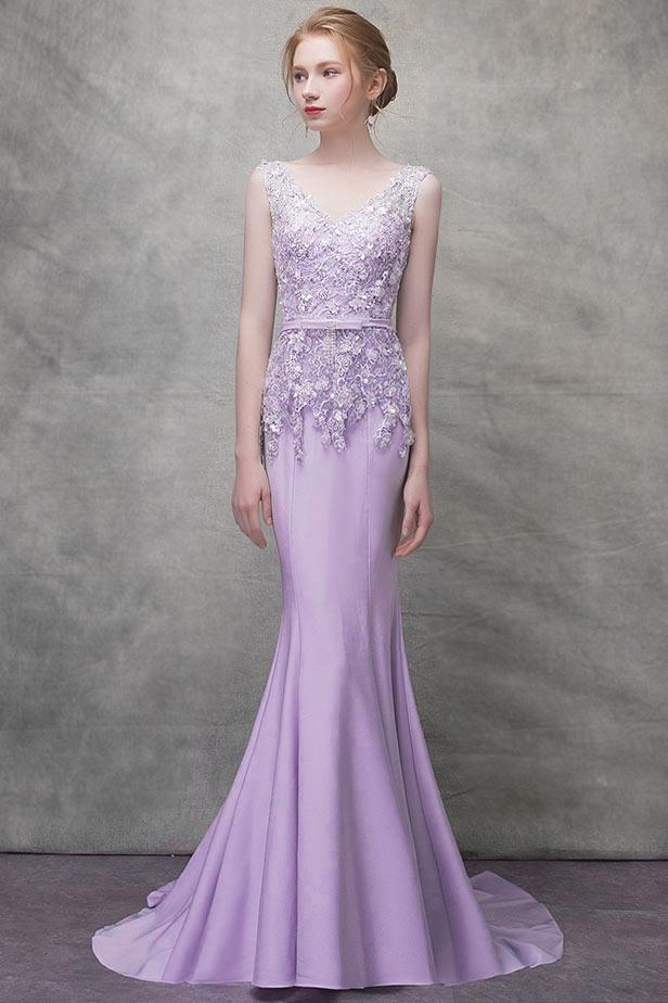 Elégante Robe de soirée lilas sirène col v à haut en dentelle ornée de sequin