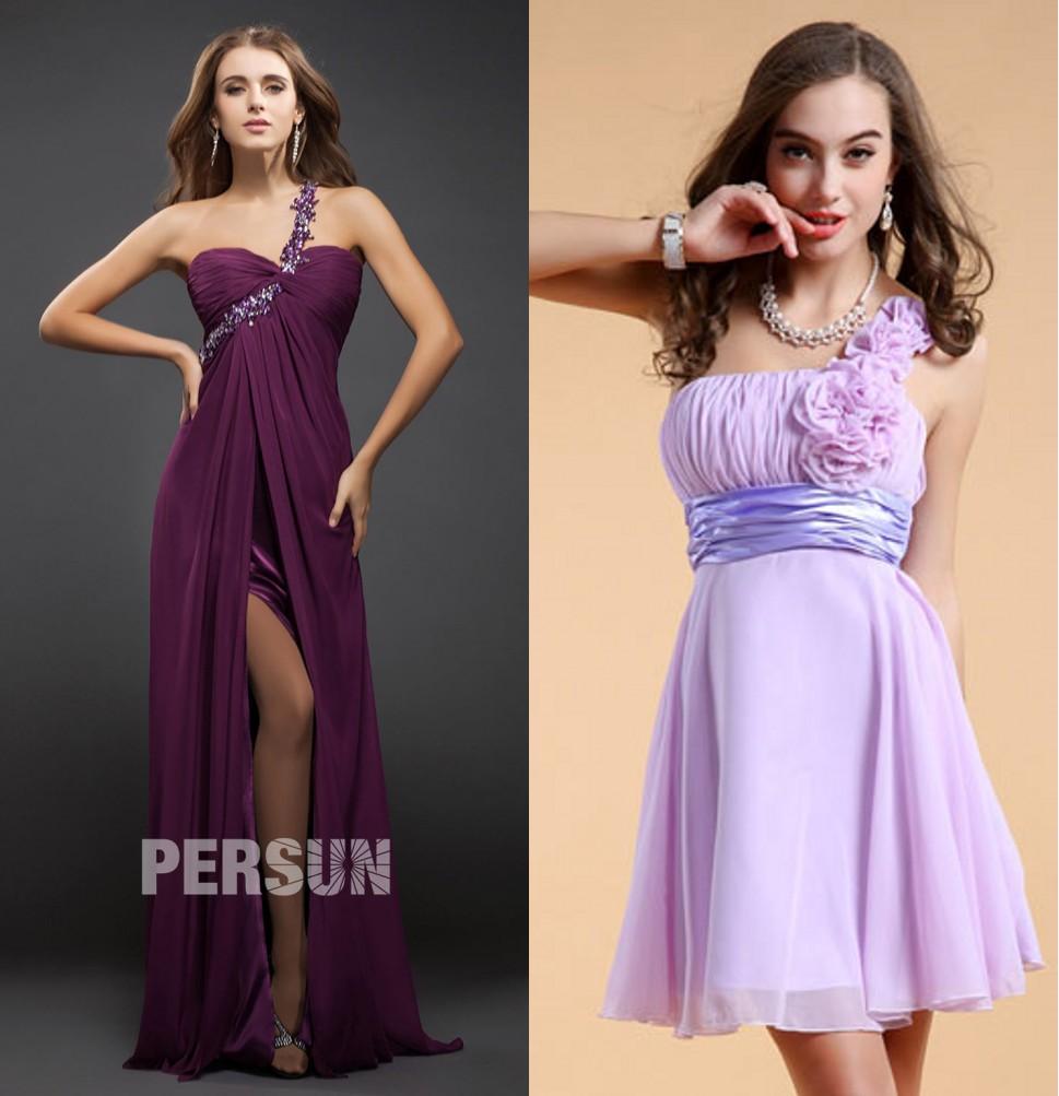 robe chic de soirée violette bustier cœur