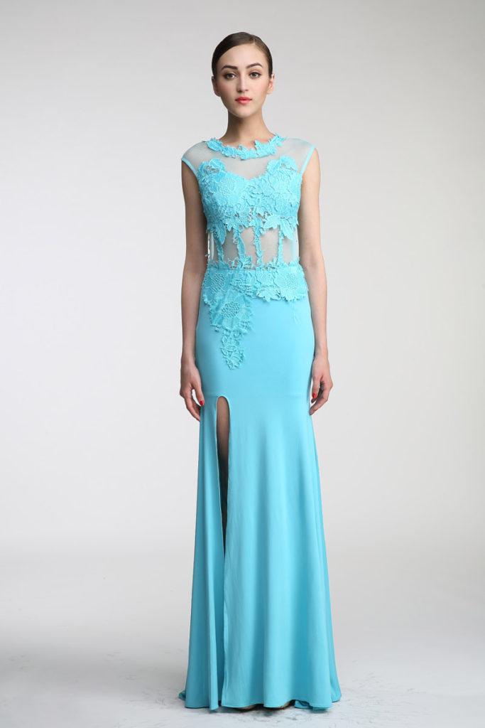 robe de soirée bleu turquoise longue avec guipure