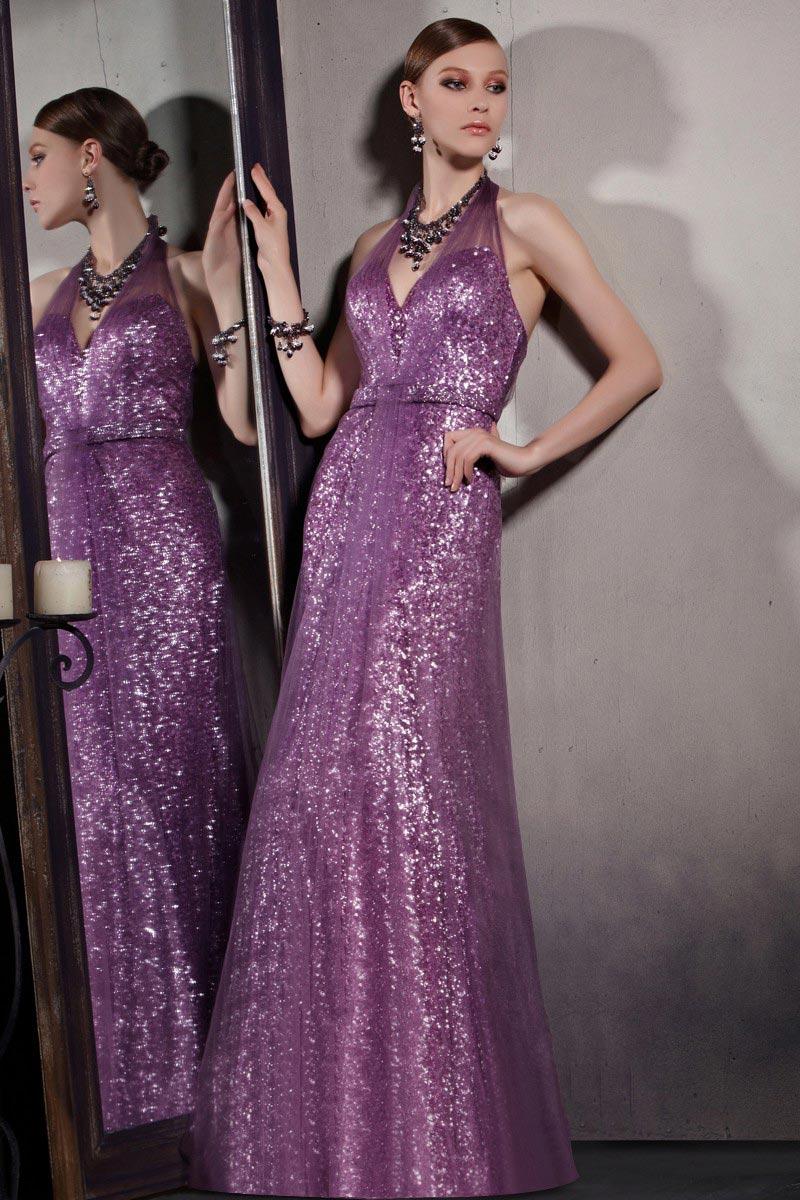 robe de soirée violette longue halter en sequin