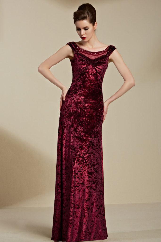 robe de gala bordeaux colonne en velours