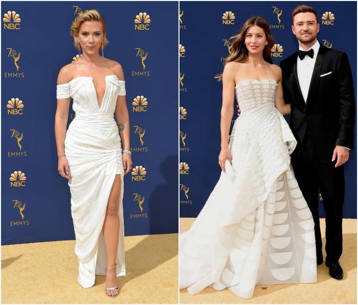 Scarlett Johansson et Jessica Biel en robes blanches aux Emmys 2018