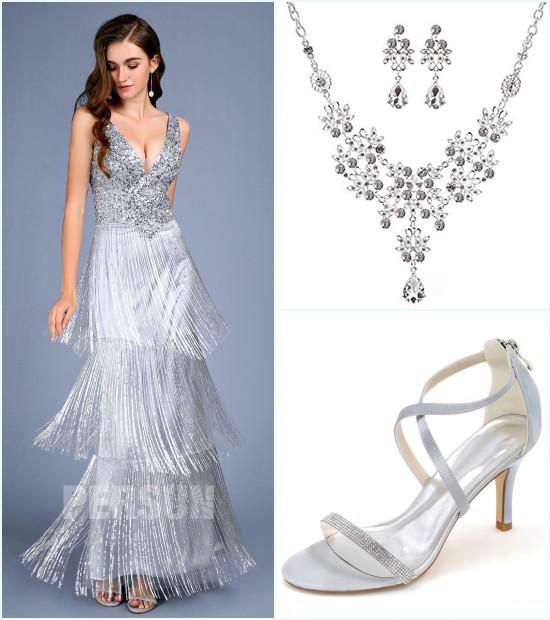 bijoux et sandale pour une robe de soirée argenté jupe à frange 2019