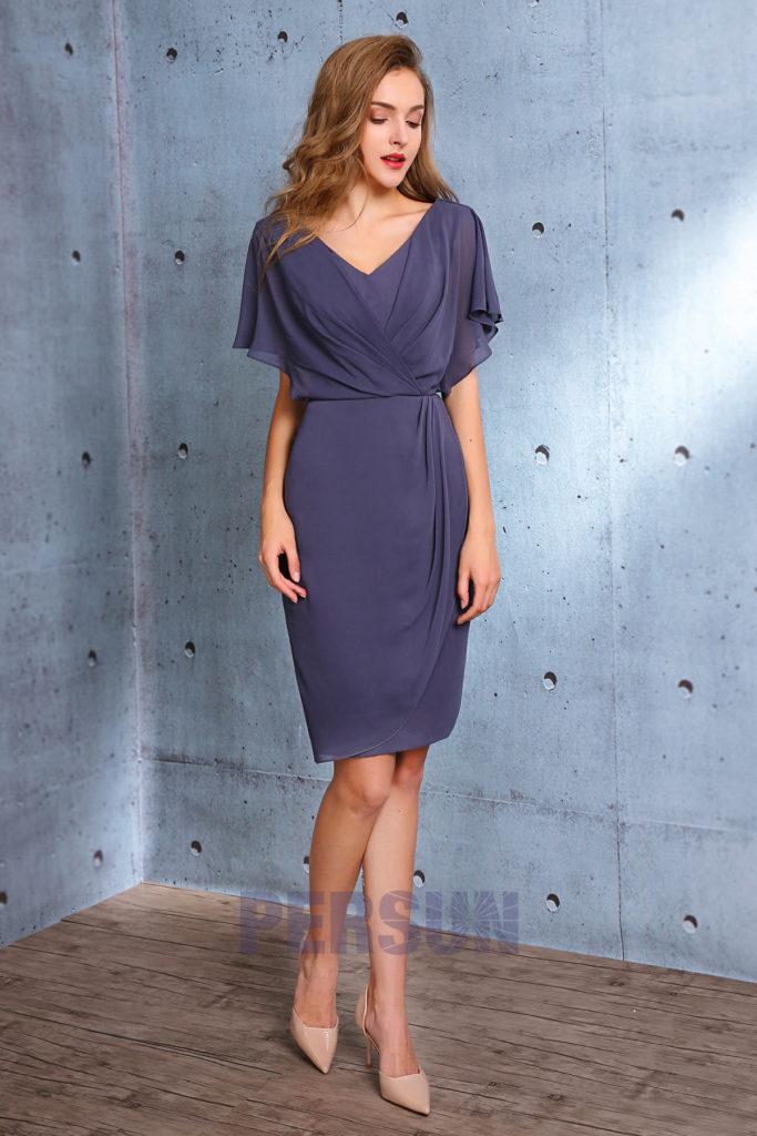 robe de soirée bleu courte fourreau avec manche 2019