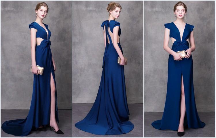 robe de soirée bleu longue fendue 2019
