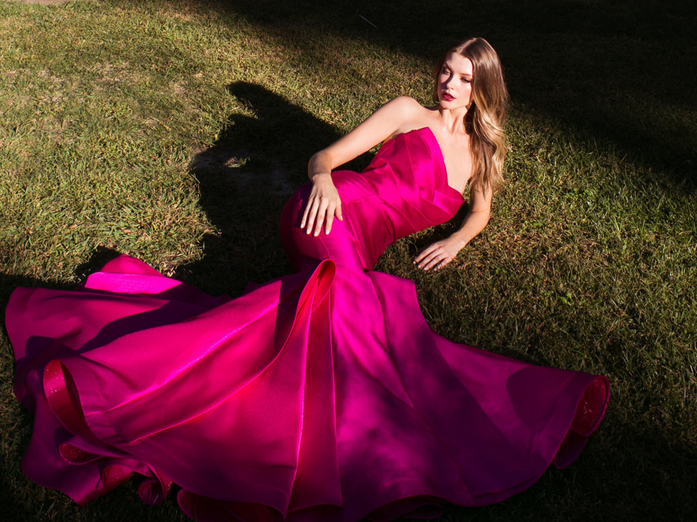 robe de cérémonie fuchsia sirène bustier coeur
