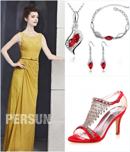 robe de soirée jaune longue, bijox et sandale rouge