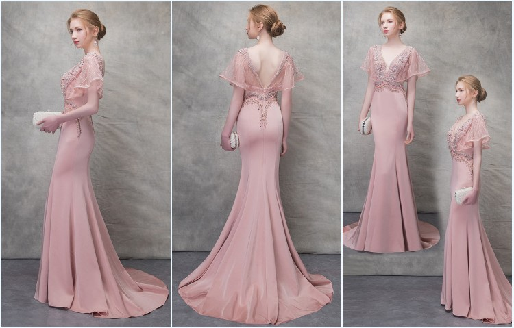 robe de soirée sirène rose avec manche embelli de bijoux 2019