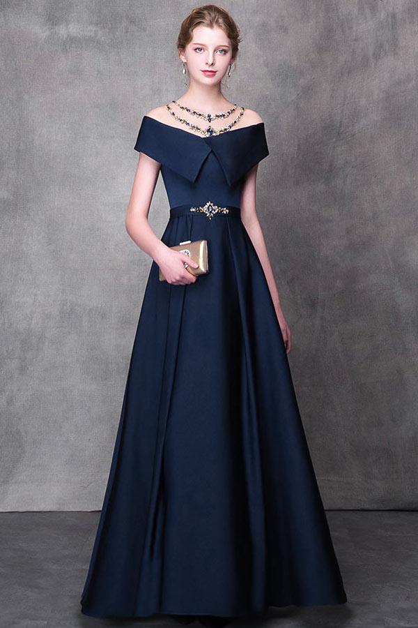 robe de soirée bleu marine princesse encolure transparente bijouté