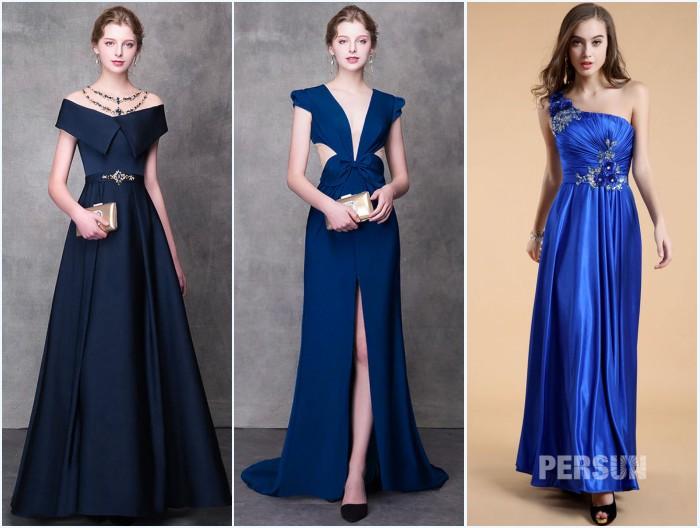 robes de soirée bleues longues tendance 2019