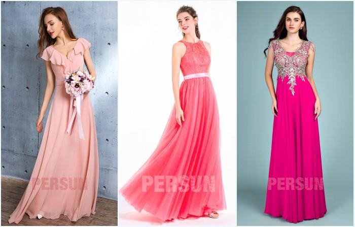 robes de soirée longues en nuance rose