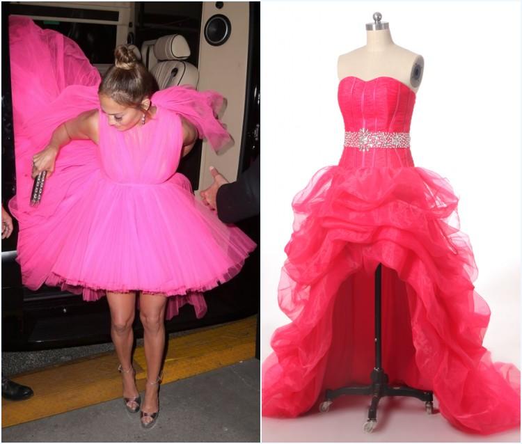 Jennifer Lopez en une robe rose bonbon en tulle