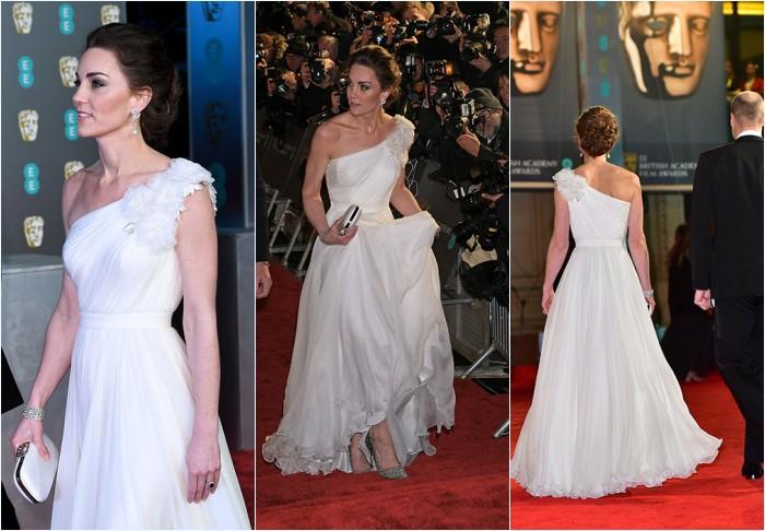 Kate Middleton en robe blanche asymétrique Alexander McQueen aux Bafta 2019