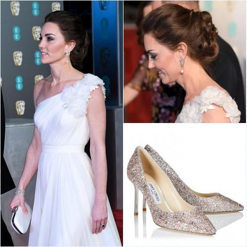escarpins Jimmy Choo et boucles d'oreilles de Kate Middleton aux BAFTA