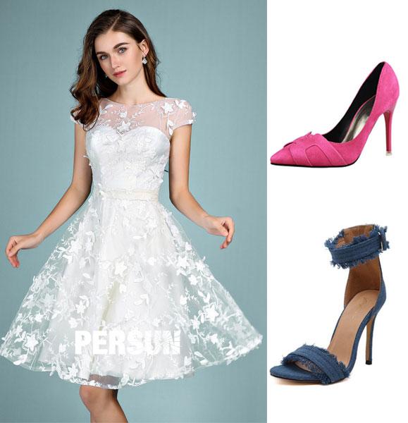 robe blanche dentelle courte et chaussures