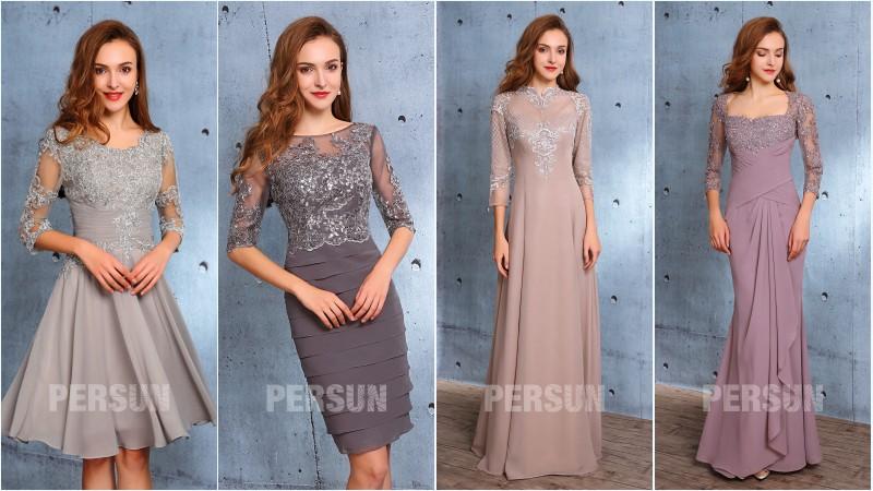 robes de soirée avec manche appliqué de dentelle 2019 persun