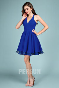 robe de soirée bleu électrique courte halter