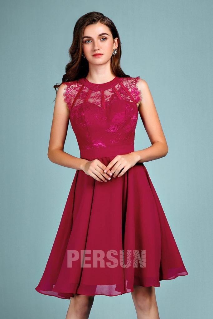 robe de soirée rouge courte haut en dentelle