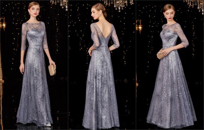 robe de soirée luxe longue en sequin dos échancré en V