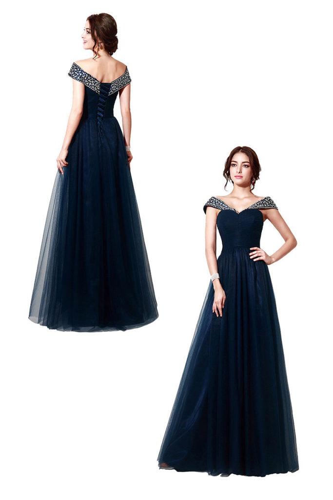 robe de soirée princesse marine épaule dénudé orné de strass