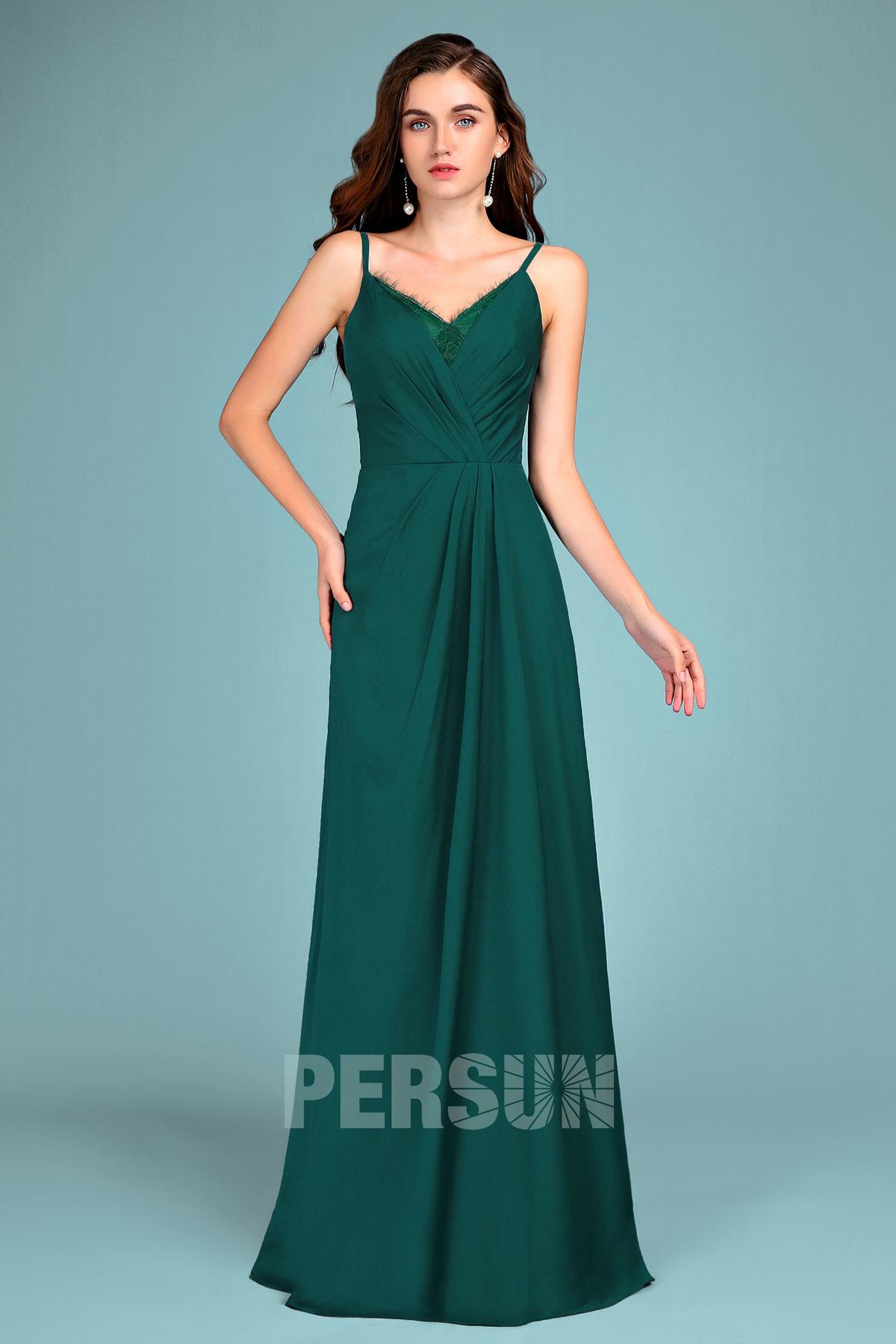 robe de soirée élégante verte pin longue avec bretelle fine 2019