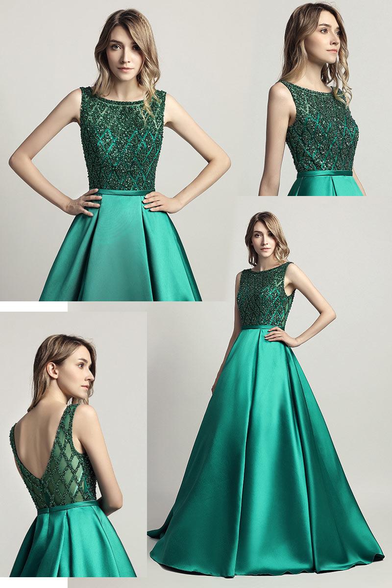 robe de soirée verte longue haut orné de strass
