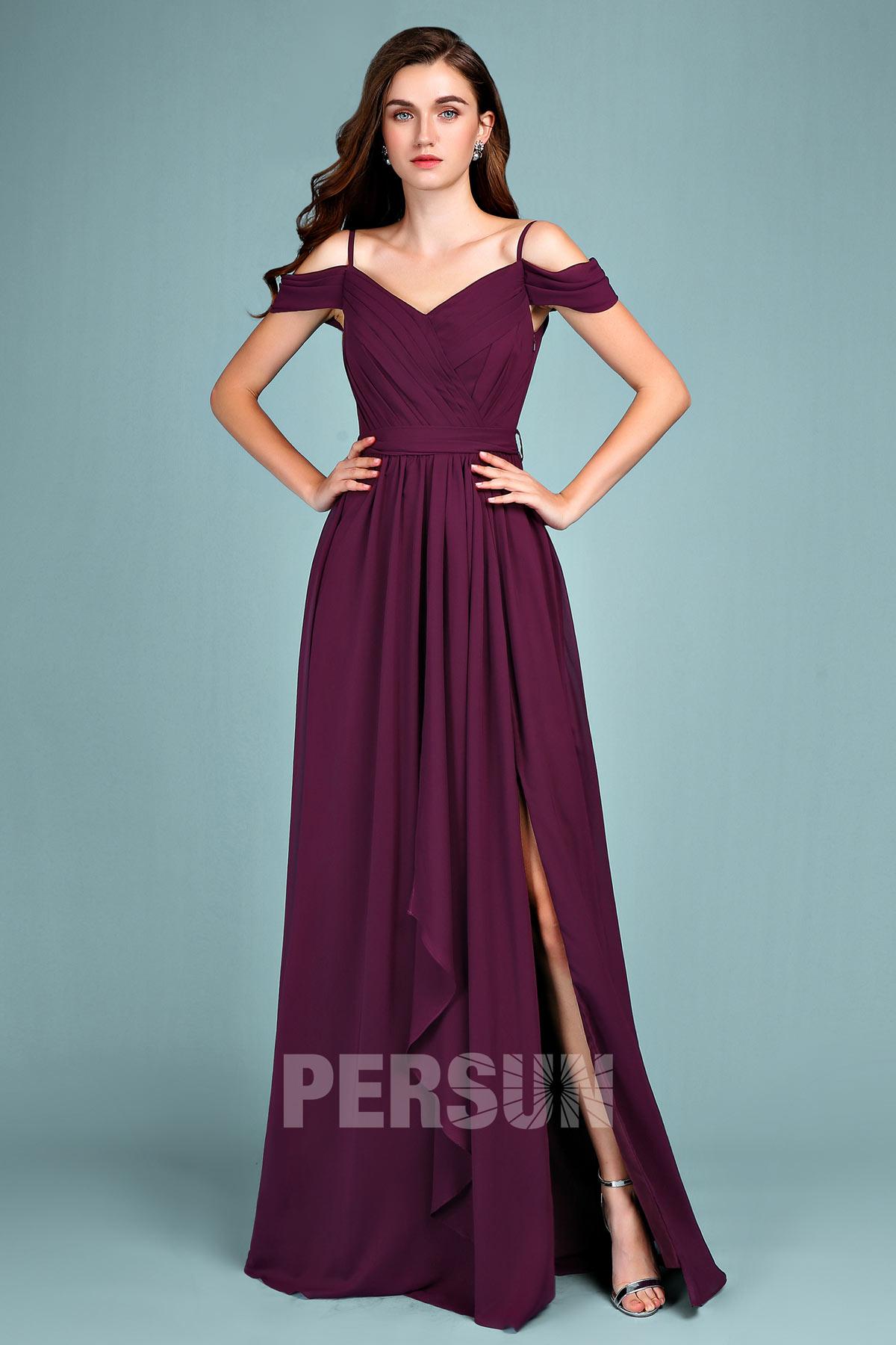 robe de soirée prune longue fendue épaule dénudé 2019
