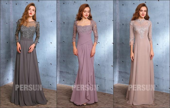 robes de soirée élgantes longues avec manche appliqué