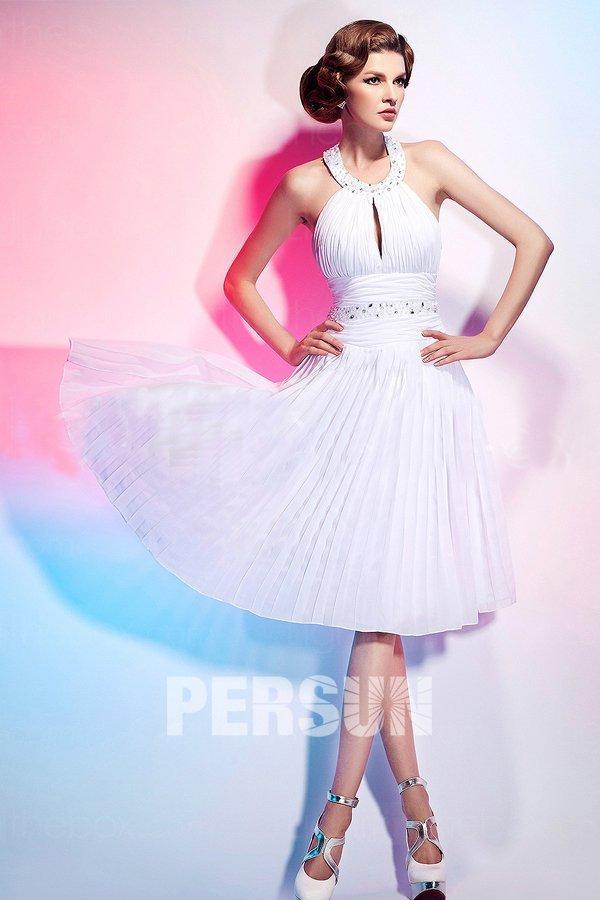robe de soirée blanche plissé style Marilyn Monroe