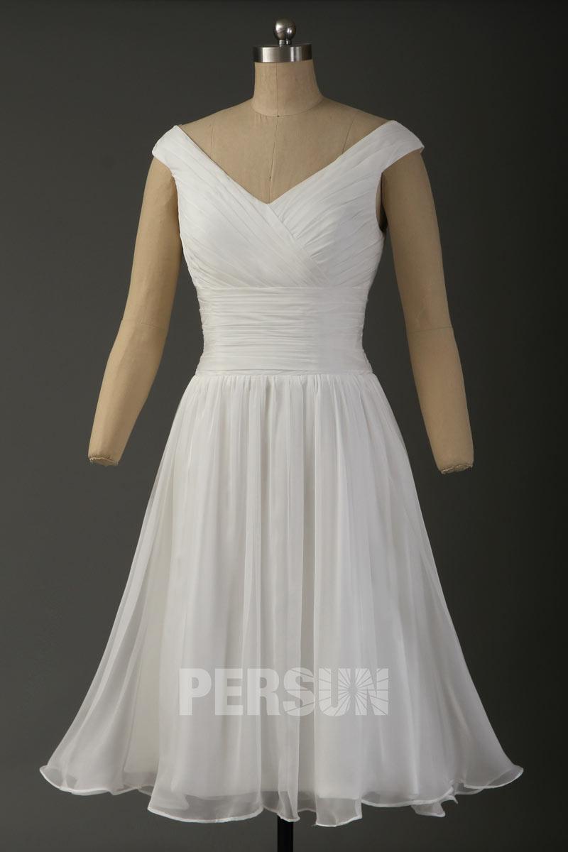 robe de soirée blanche courte simple col en V
