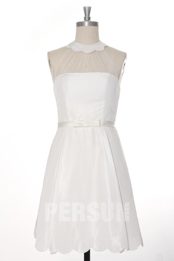 robe de soirée blanche col halter feston