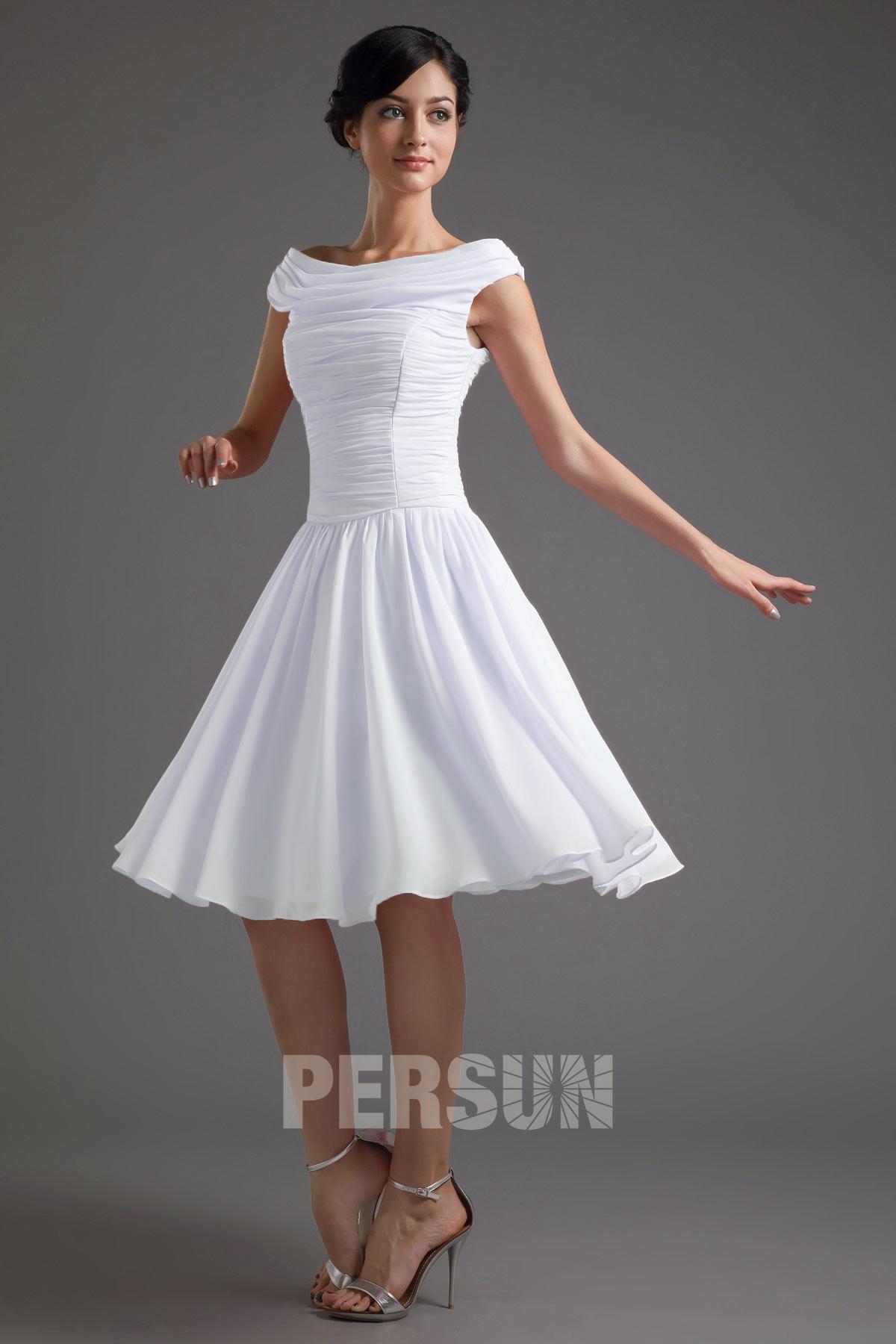 robe de soirée blanche courte simpl col bateau