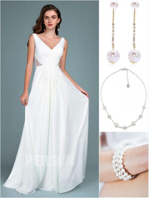 robe de soirée blanche 2019 et bijoux