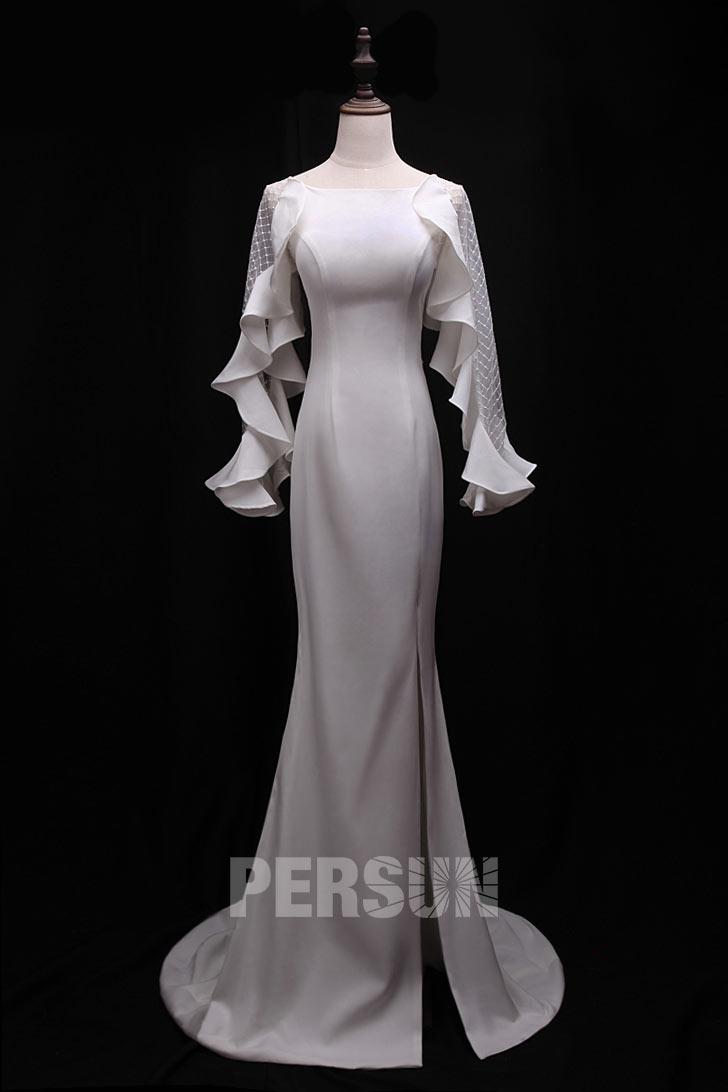 robe de soirée blanche sirène avec manche