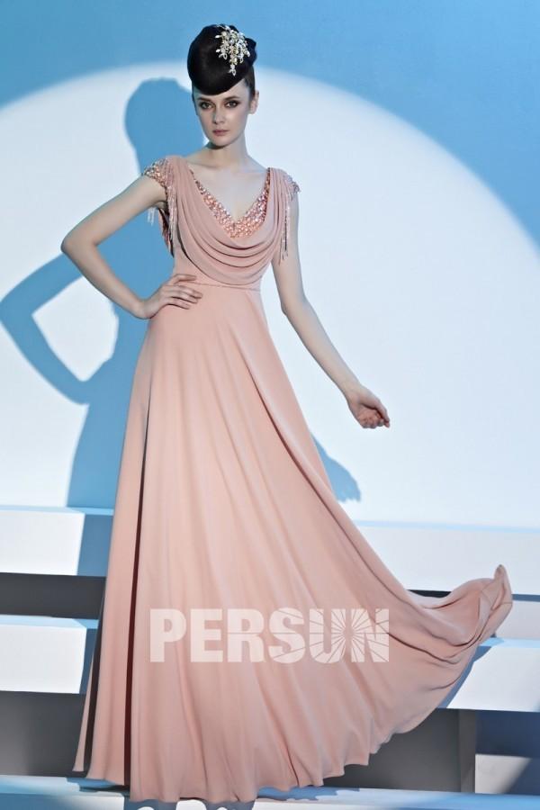 robe de soirée rose col bénitier