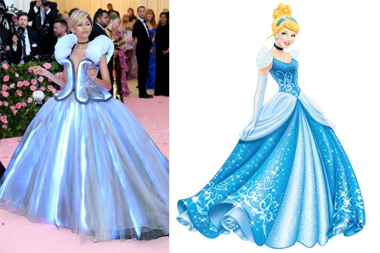 Zendaya en une robe de soirée princesse bleu au Met gala 2019