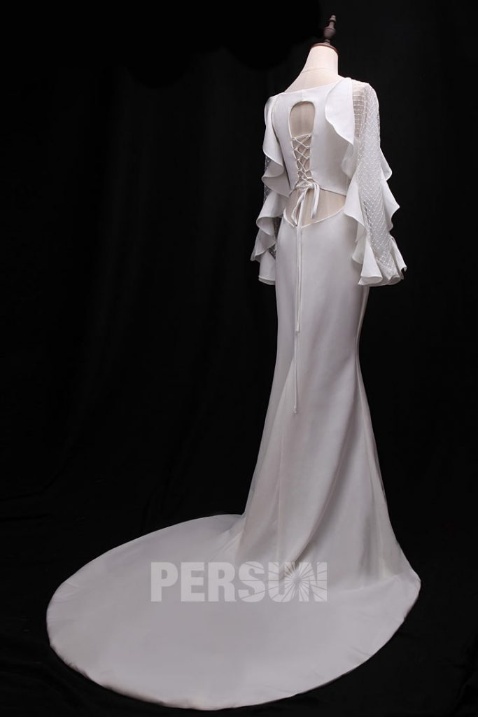 robe de soirée blanche sirène dos découpé