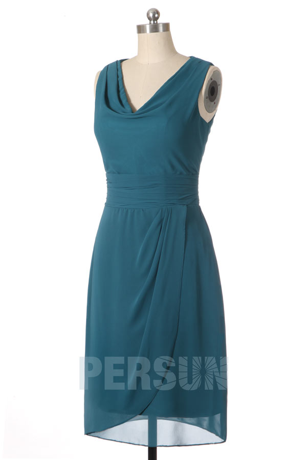 robe de soirée verte courte col bénitier