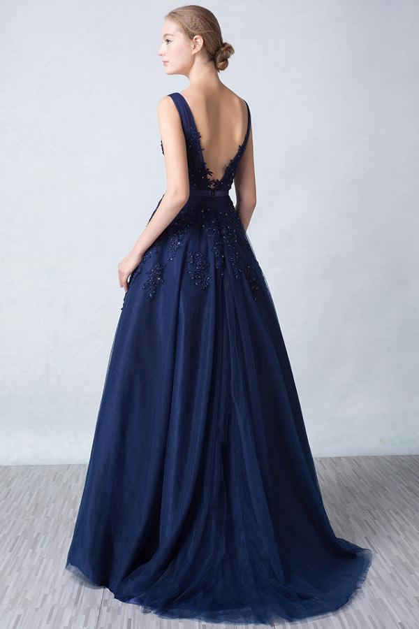 robe de soirée bleu nuit princesse dos décolleté en V