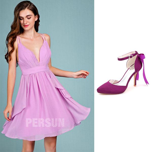 robe de soirée lilas courte et escarpin violette