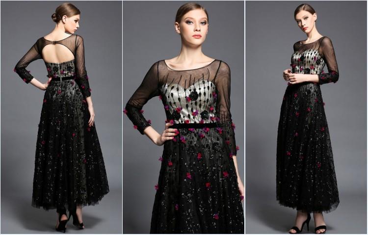 robe de soirée noire dos découpé florale en sequin