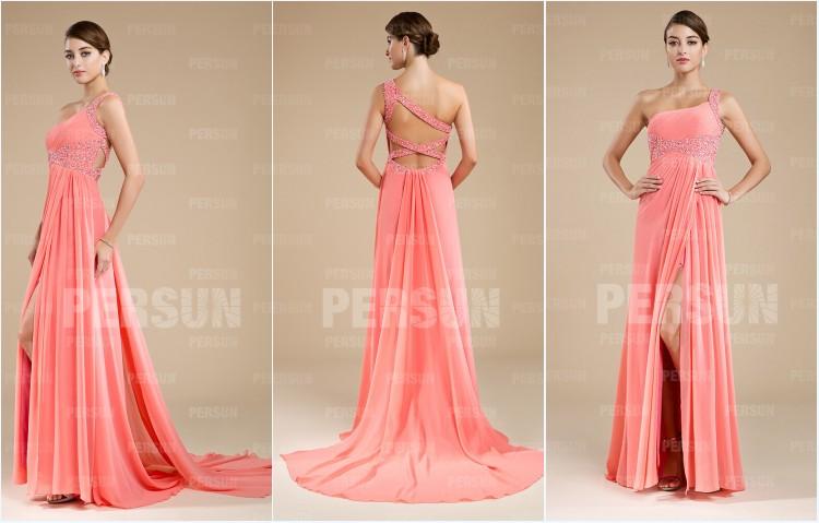robe de soirée rose asymétrique orné de strass avec bretelle croisé au dos