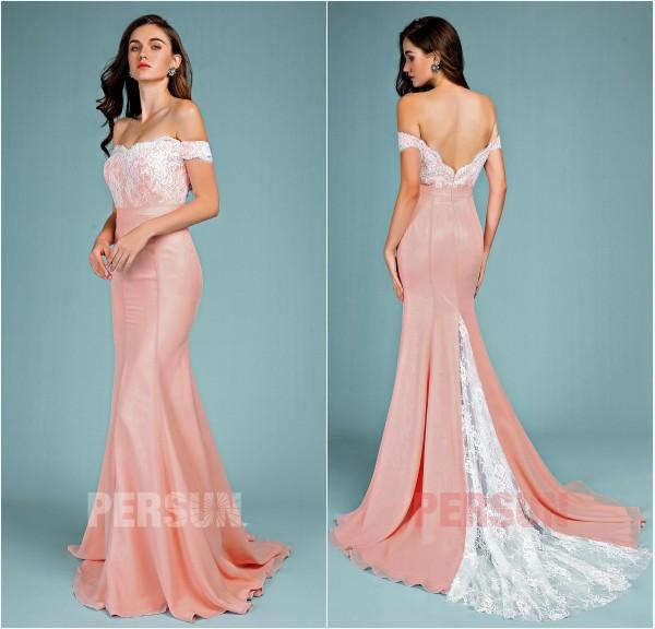 robe de soirée vieux rose sirène épaule dénudé dos échancré