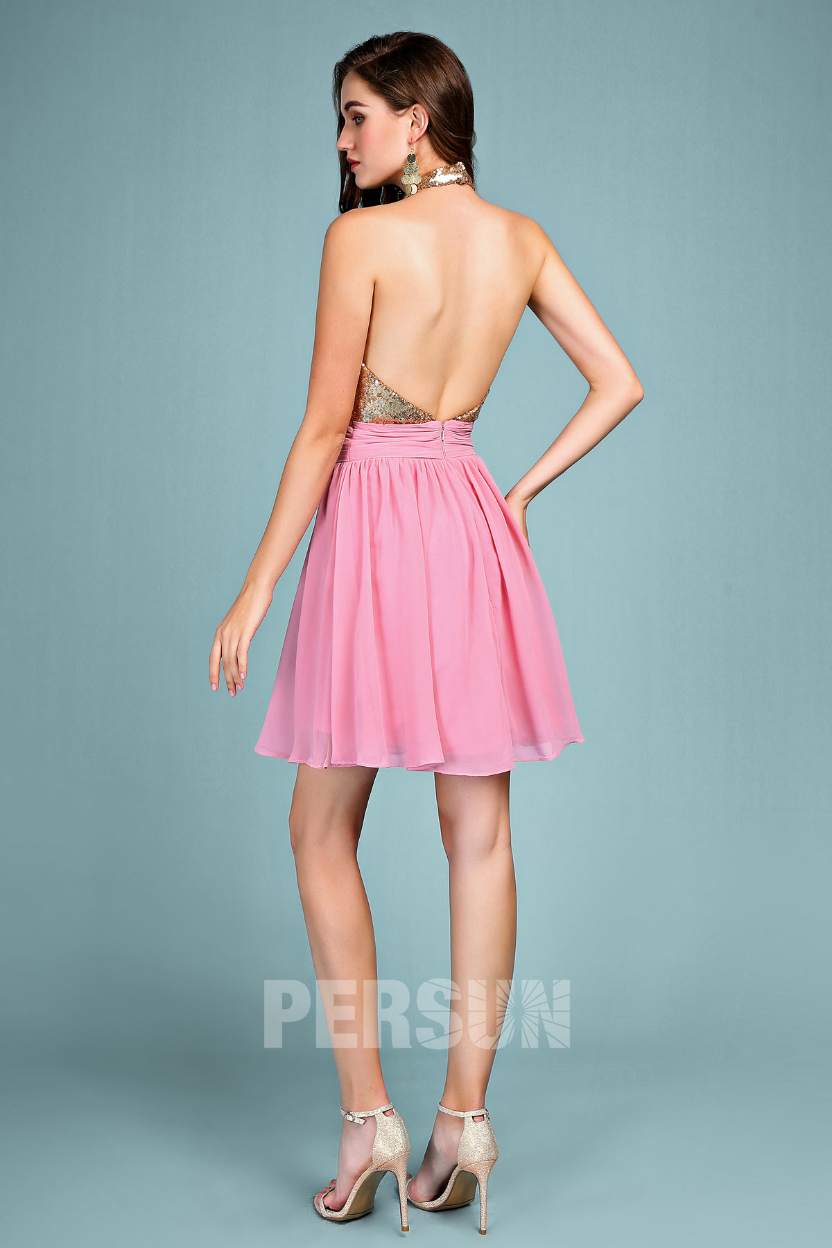 robe de soirée vieux rose haut en sequin dos nu