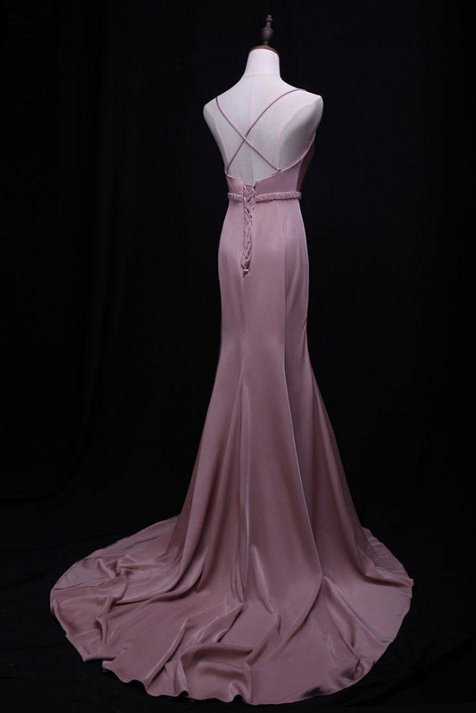 robe de soirée sirène avec bretelle fine croisée au dos