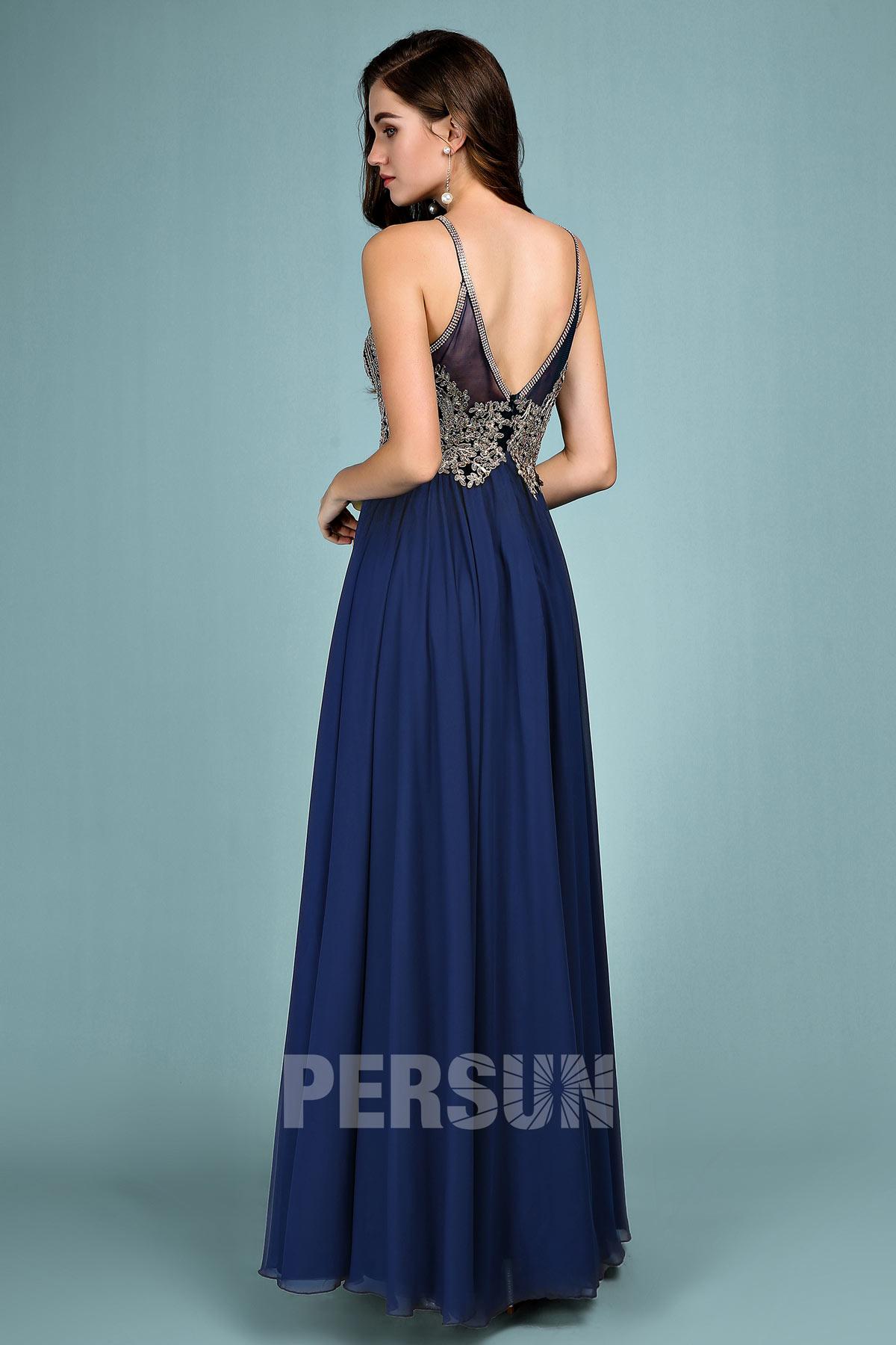 robe de soirée bleu haut appliqué de dentelle guipure dos échancré